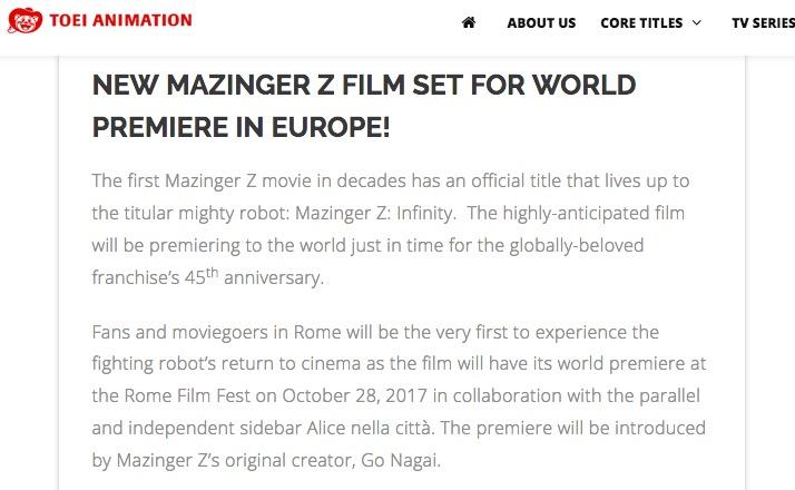 Mazinger Z-Toei Animation-Premier Mundial