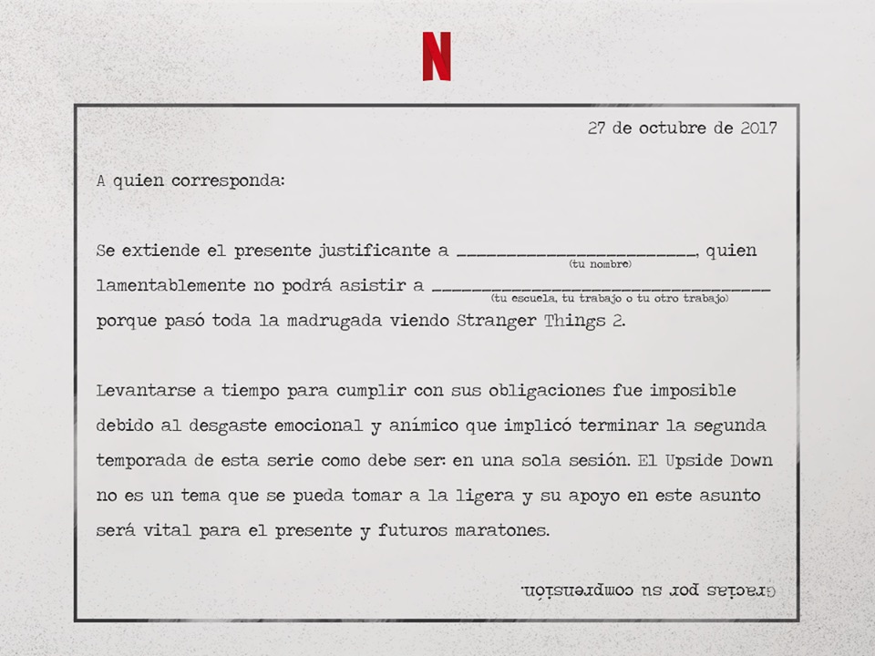 Netlix-Stranger Things 2-justificante