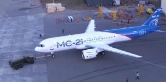 Primer vuelo del MS-21-300 a Moscú. Capura de video.