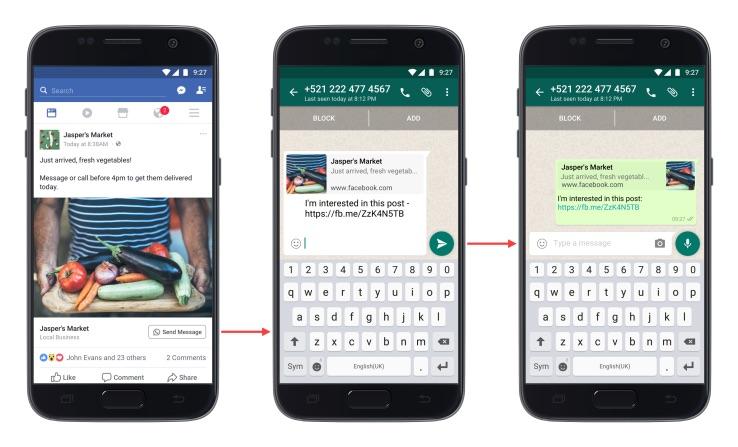 Facebook integra WhatsApp en los anuncios de empresas