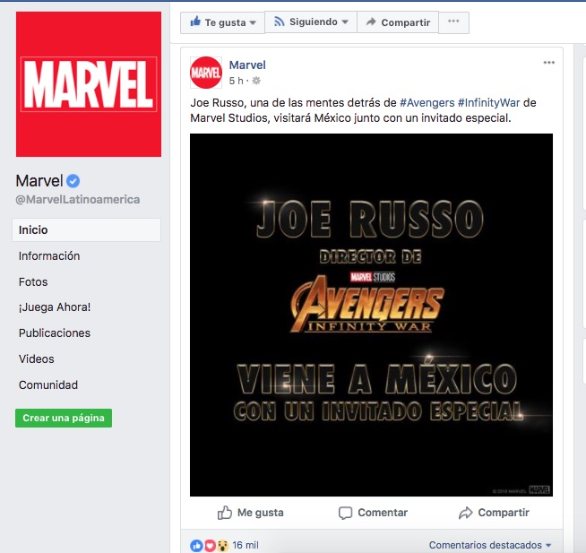 Avengers-Infinity War-Marvel-Facebook-Mexico