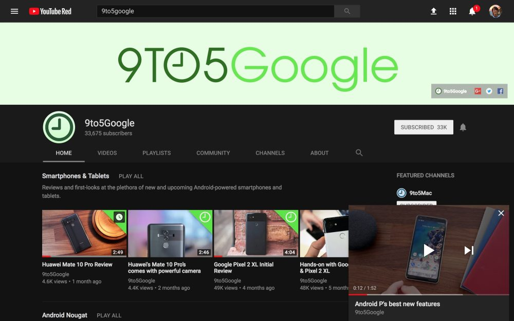 YouTube-Picture in picture-9to5Google