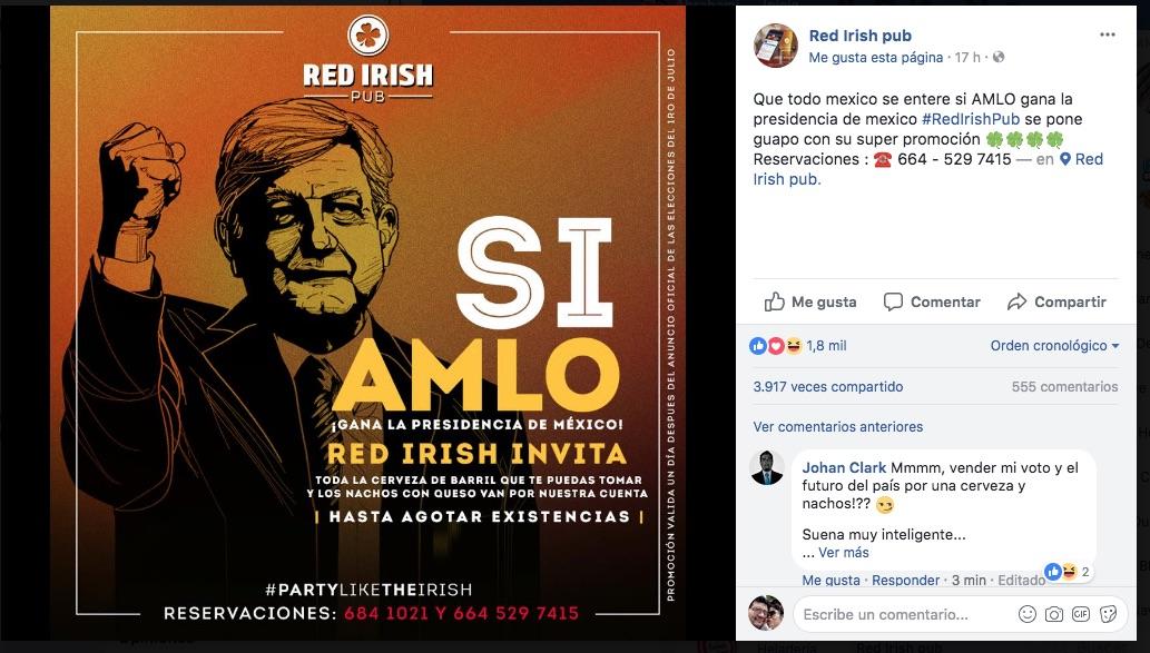 Este bar regalará cerveza y nachos si AMLO gana las elecciones