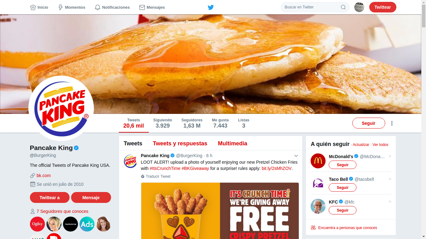 Burger King se cambia a Pancake King