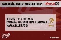 premiacion ENTERTAINMENT colombia BRONCE