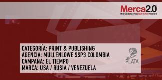Plata para Colombia en Print & Publishing por El Tiempo en Cannes Lions 2018