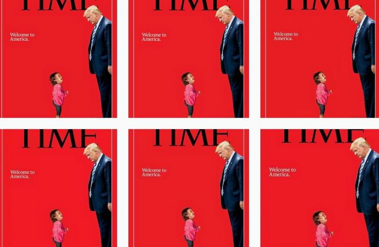 Trump ''se enfrenta'' a niña migrante en portada de la revista Time