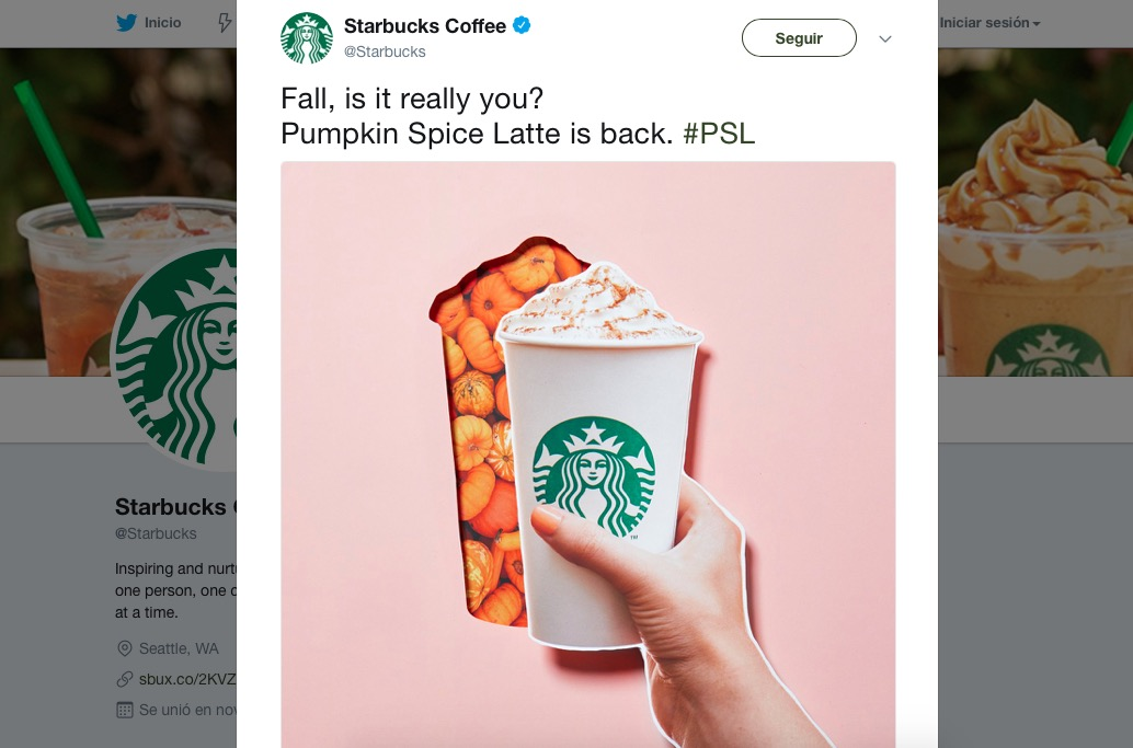 Pumpkin Spice Latte-Starbucks