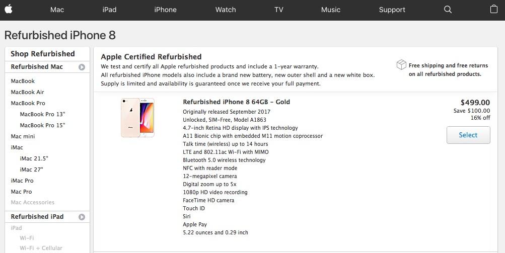 iPhone 8-Apple Certified Refurbished