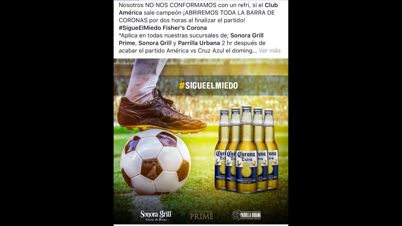 """Sonora Grill """"se ríe"""" de la promoción Fisher's y anuncia que si el América gana habrá barra libre de cervezas"""