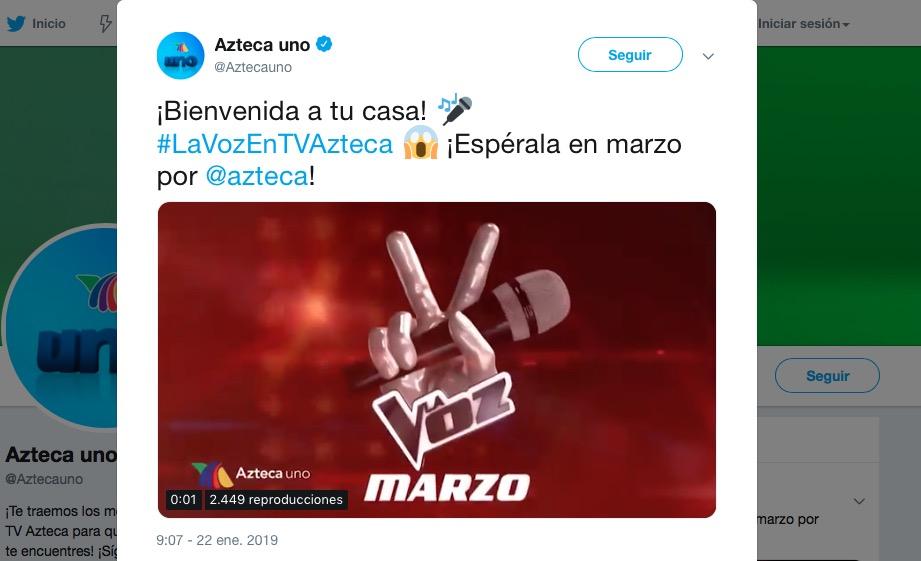 La Voz cambia de casa ahora será por ¡TV Azteca!