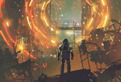 Sci-fi Ciencia Ficción Scene Of The Astronaut Looking At The Futuristic Portal,
