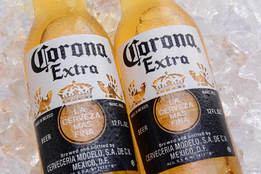 Corona Extra Beer Bottles On Ice