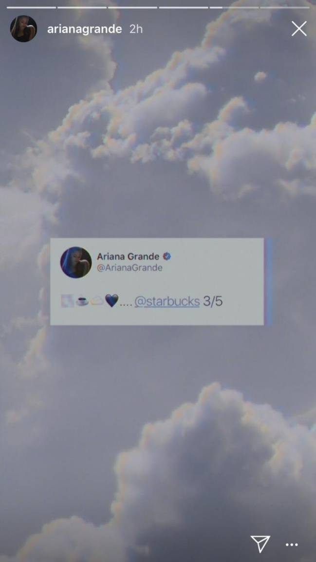 Ariana Grande-Starbucks-Instagram Storie