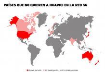 Las naciones que rechazan a Huawei