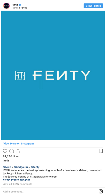 Anuncio del lanzamiento de Fenty