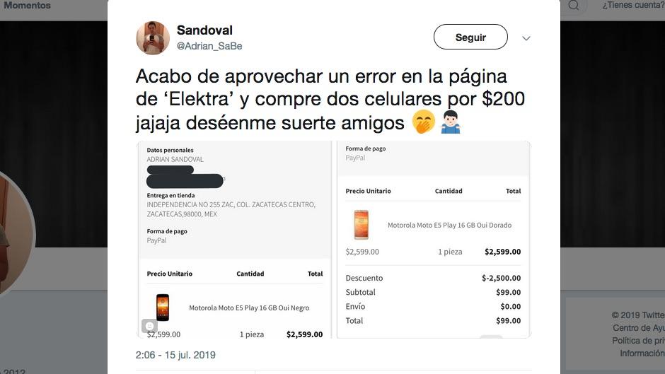 Elektra aplica descuentos de 2,500 pesos por error