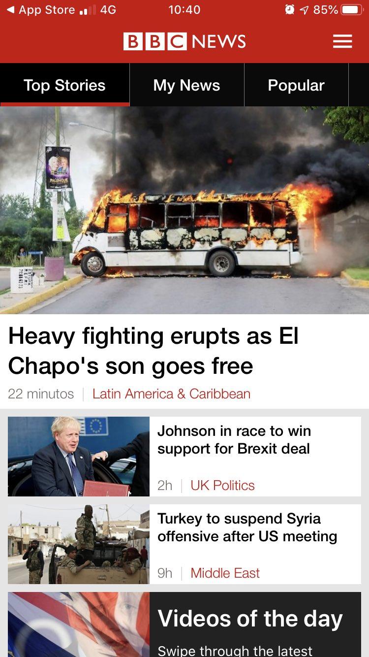 BBC Londres Violencia en Culiacan