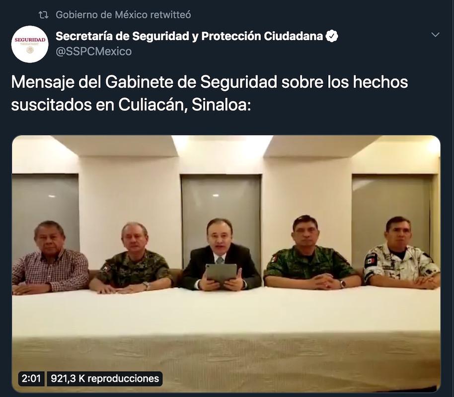 Gabinete de Seguridad-Ovidio Guzmán-Chapo
