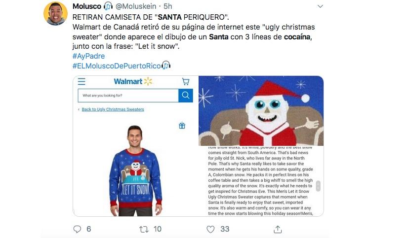Retiran de tienda suéter de Santa con Cocaína