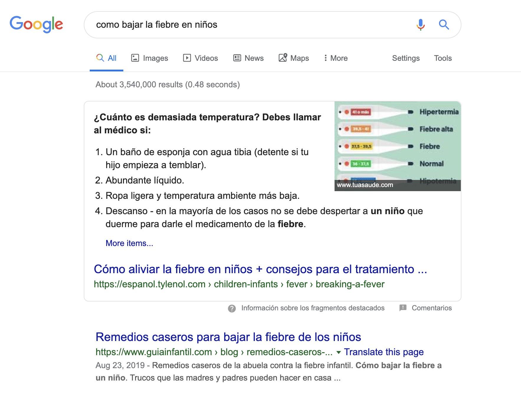 Tendencias de marketing de la salud - Búsquedas en google sobre salud infantil.