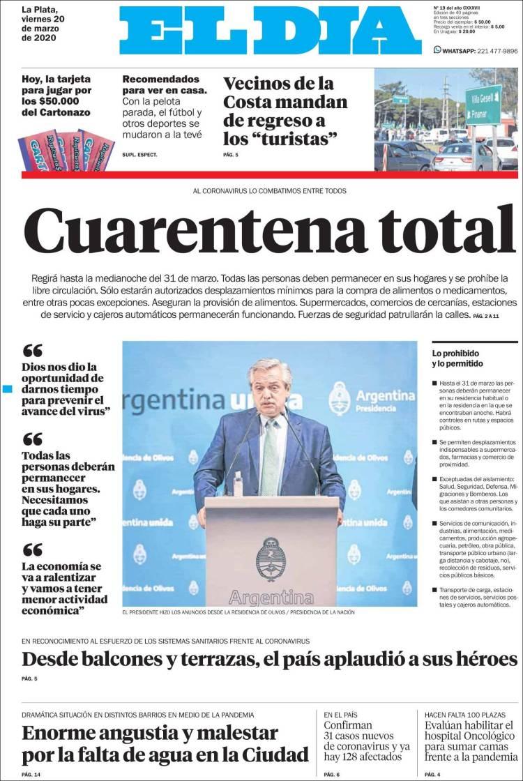 Cuarentena total dice El Día sobre la decisión por el coronavirus.
