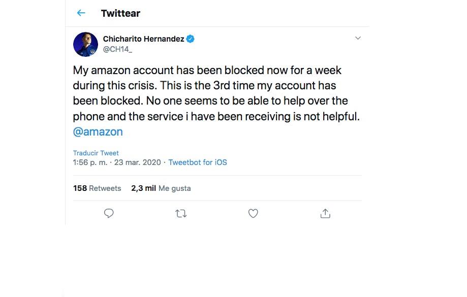 Chicharito se queja por bloqueo de cuenta Amazon, lo tunden en redes
