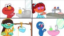 Sésamo: La-la lava, enjuaga, junto a Elmo y sus amigos