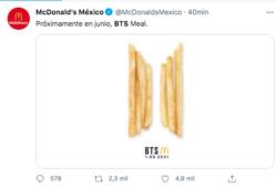 BTS y McDonald's lanzarán menú
