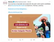 Evelyn Salgado cobijada por Morena