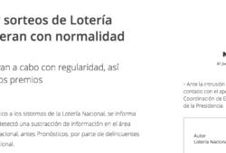 Los premios y sorteos están seguros, dice la Lotería Nacional